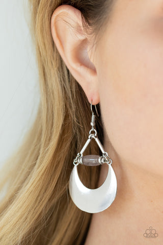 Paparazzi Mystical Moonbeams - Silver Earrings
