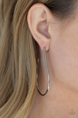 Paparazzi City Curves - Silver Earrings