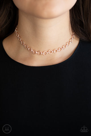 Paparazzi Insta Connection - Rose Gold Choker Necklace