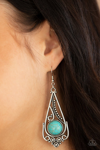 Paparazzi Canyon Climate - Turquoise Earrings