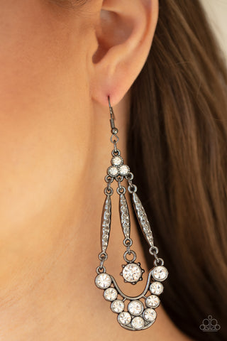 Paparazzi High-Ranking Radiance - Black Earrings