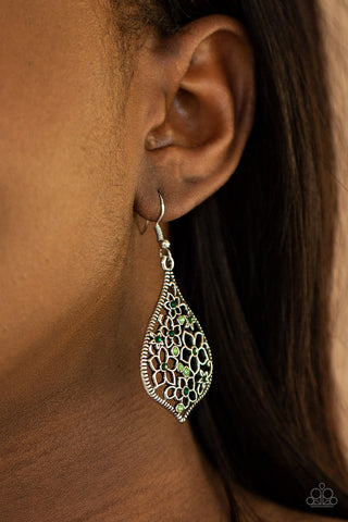 Paparazzi Full Out Florals - Green Earrings