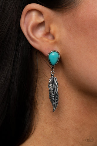 Paparazzi Totally Tran-QUILL - Turquoise Earrings