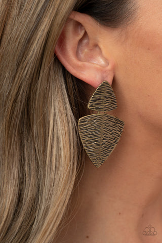 Paparazzi PRIMAL Factors - Brass Earrings