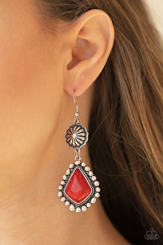 Paparazzi Country Cavalier - Red Earrings