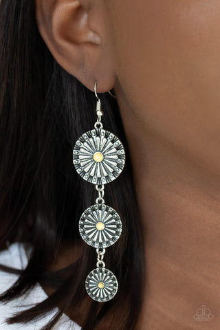COMING SOON - Paparazzi Festively Floral - Yellow Earrings