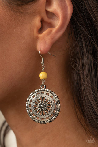 COMING SOON - Paparazzi Flowering Frontiers  - Yellow Earrings
