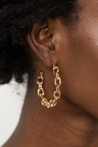 Paparazzi Stronger Together - Gold Earrings