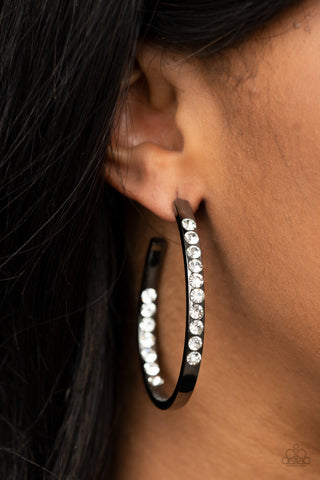 Paparazzi Borderline Brilliance - Black Earrings