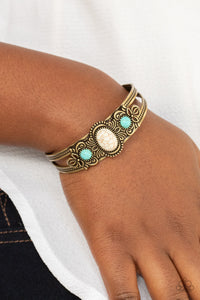 Paparazzi Artisan Ancestry - Brass, White and Tuquoise Bracelet