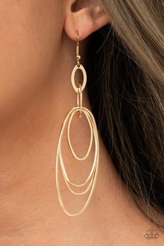 COMING SOON - Paparazzi OVAL The Moon - Gold Earrings