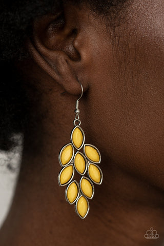 Paparazzi Flamboyant Foliage - Yellow Earrings
