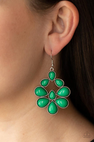 Paparazzi In Crowd Couture - Green Earrings