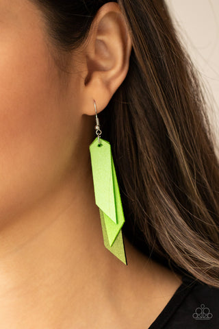 Paparazzi Suede Shade - Green Earrings