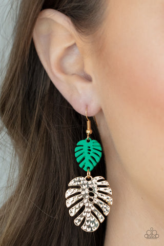 Paparazzi Palm Tree Cabana - Green Earrings