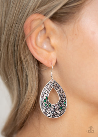 Paparazzi Botanical Butterfly - Green Earrings