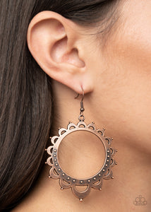 Paparazzi Casually Capricious - Copper Earrings