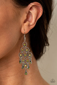 Paparazzi Chandelier Cameo Green Earrings