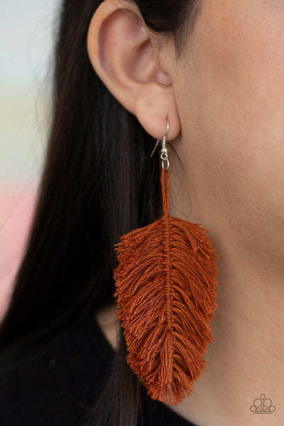 Paparazzi Hanging by a Thread - Brown Earrings