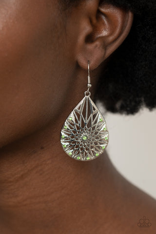 Paparazzi Icy Mosaic Green Earrings