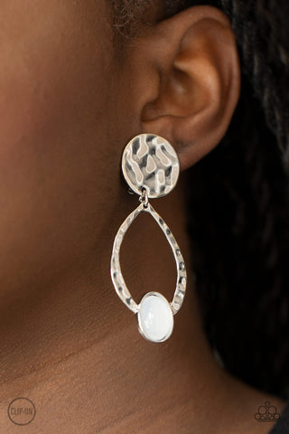 Paparazzi Opal Obsession - White Clip-On Earrings