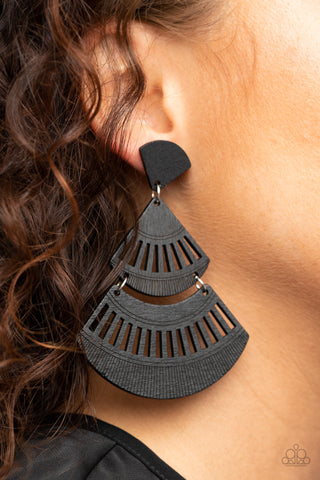 Paparazzi Oriental Oasis Black Earrings
