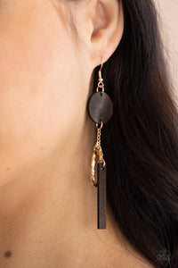Paparazzi Raw Refinement Brown  and Gold Earrings