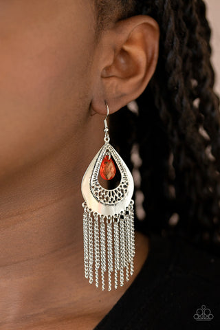 Paparazzi Scattered Storms - Red Earrings