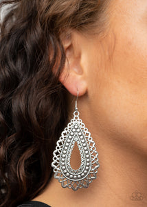 Paparazzi Texture Garden - Silver Earrings