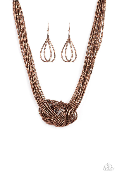 Paparazzi Knotted Knockout - Copper Necklace