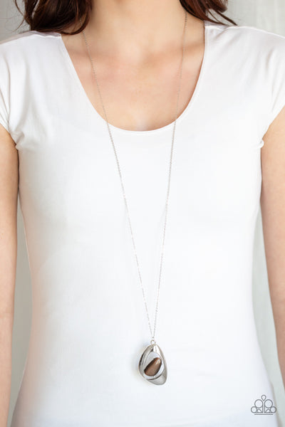 Paparazzi Asymmetrical Bliss - Brown Necklace