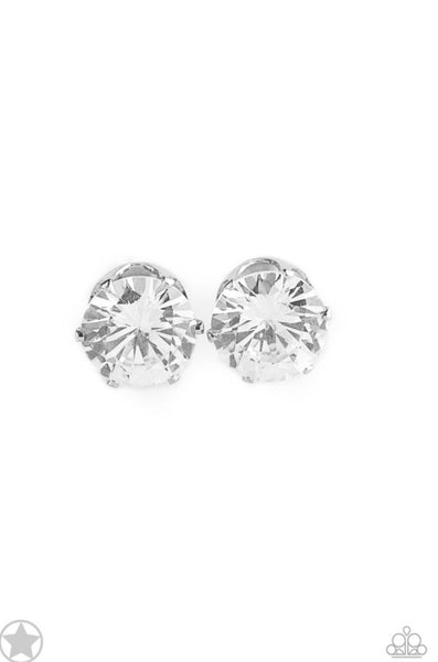Paparazzi Just In TIMELESS - White Blockbuster Earrings