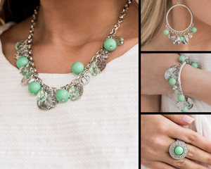 Paparazzi Prismatic Sheen $20 Green Necklace Set
