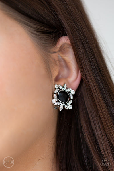 Paparazzi First-Rate Famous - Black Clip-On Earrings
