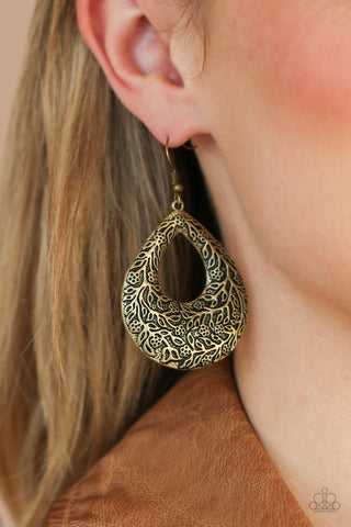 Paparazzi Flirtatiously Flourishing Brass Earrings