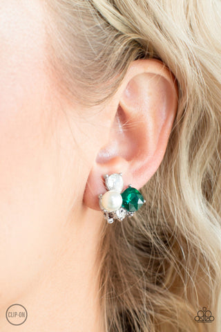Paparazzi Highly High-Class - Green Clip-On Earrings