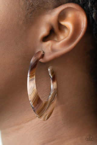 Paparazzi Retro Renaissance - Brown Acrylic Earrings