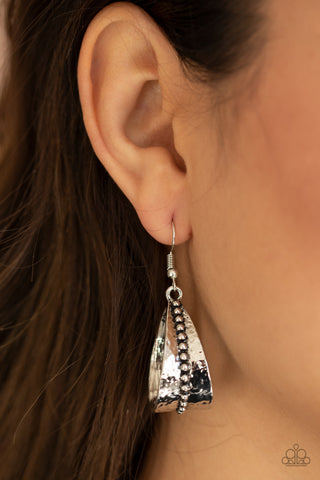 Paparazzi STIRRUP Some Trouble Silver Earrings