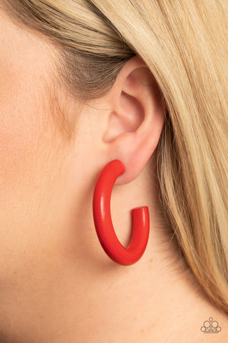 Paparazzi Woodsy Wonder Red Hoop Earrings