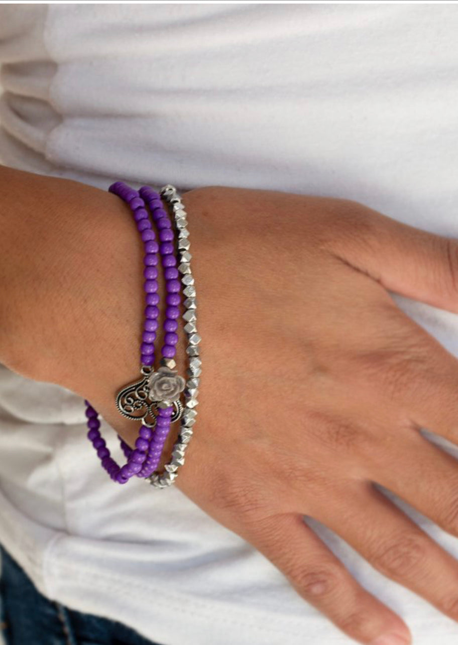 Paparazzi Lovers Loot - Purple Bracelet