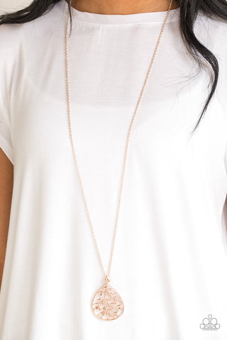 Paparazzi BOUGH Down - Rose Gold Necklace