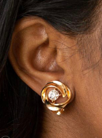 Paparazzi Girl Whirl Gold Clip-on Earrings