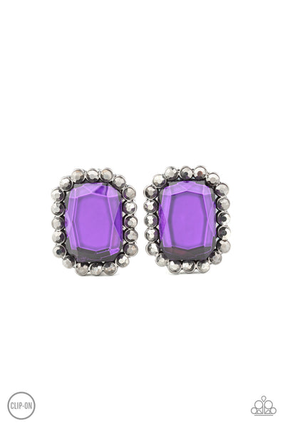 Paparazzi Glitter Enthusiast - Purple Clip-On Earrings