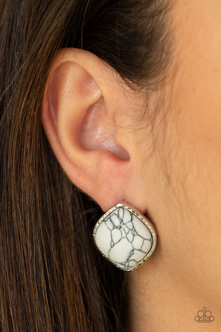 Paparazzi Marble Marvel - White Earrings