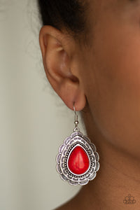 Paparazzi Mountain Mover - Red Earrings