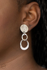 Paparazzi Reshaping Refinement - White Clip On Earrings