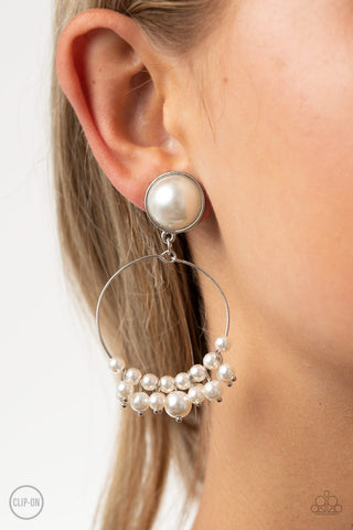 Paparazzi Seize Your Moment - White Clip-On Earrings