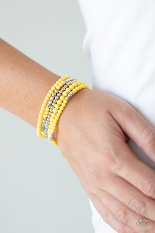 Paparazzi Stacked Showcase - Yellow Bracelet