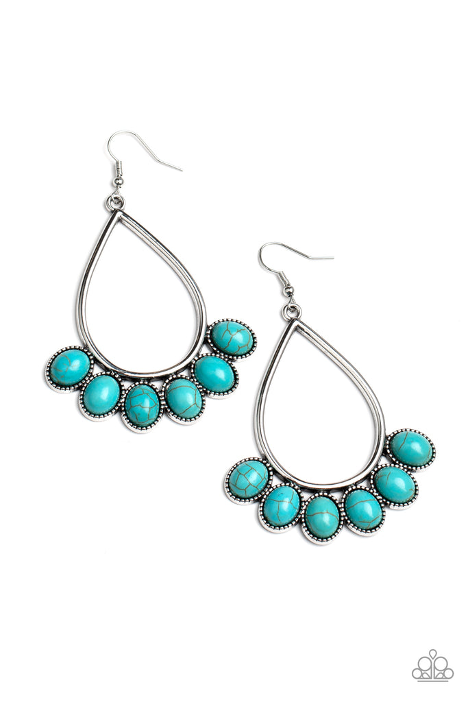 Earrings graphic bronze eclipse stone turquoise