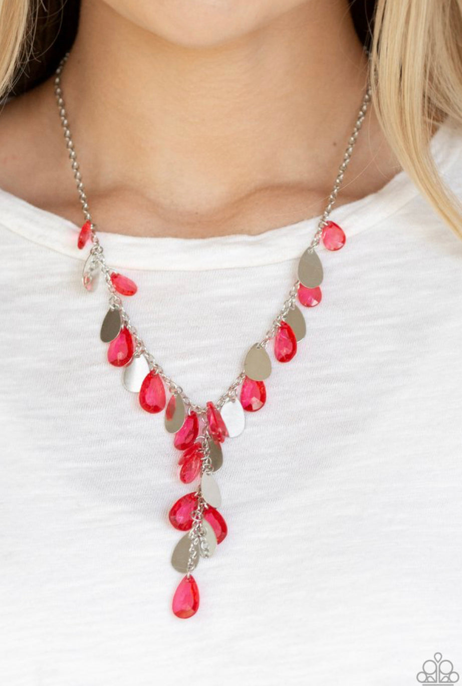 Paparazzi Sailboat Sunsets - Red Necklace
